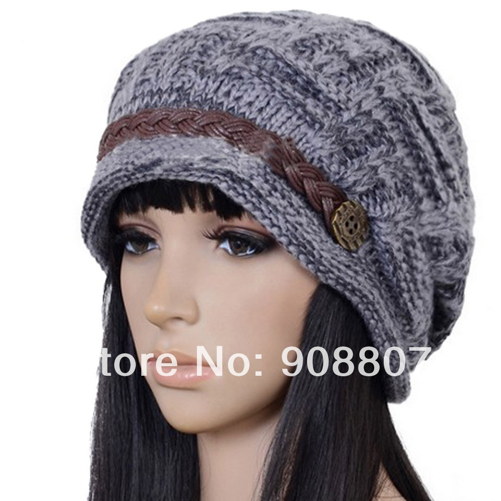Slouchy Cable Knit Hat Pattern : Etang Free Shipping Slouchy Cabled Pattern Knit Beanie Crochet Rib Hat Brim N...