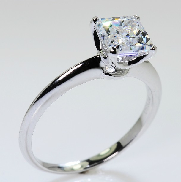 1 Carat Solitaire Excellent Princess Cut Synthetic Diamond Ring For Women Ste