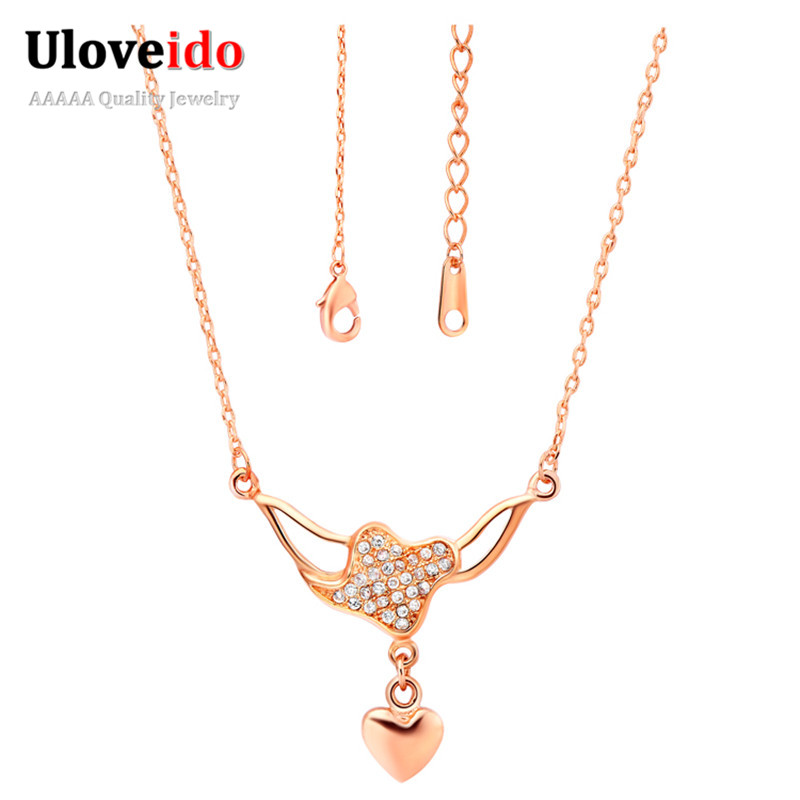 Sterling Silver Jewelry Necklaces&Pendants Necklace Women Zilveren Sieraden Long Choker Rose Gold Chain Bijuterias Ulove N546(China (Mainland))