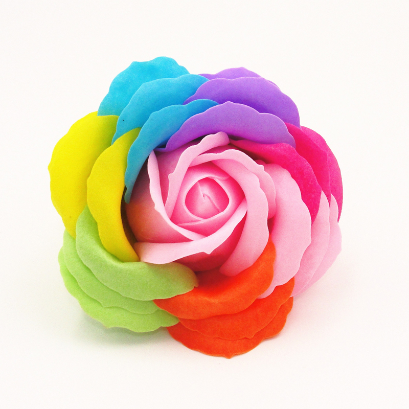 1pc Colorful flower head simulation eternal life 5 layer petal soap flowers(China (Mainland))