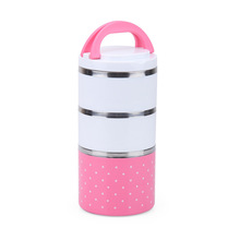 3 layers 1230ml Stainless Steel Lunch Box with handle Thermos for Food Container insulation Student Bento box Dinnerware sets(China (Mainland))
