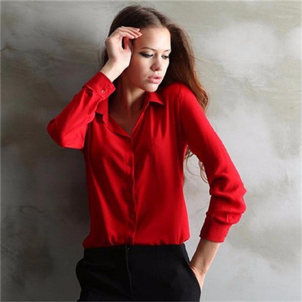 5 Colors Work Wear 2015 Women Shirt Chiffon Blusas Femininas Tops Elegant Ladies Formal Office Blouse Plus Size XXL(China (Mainland))
