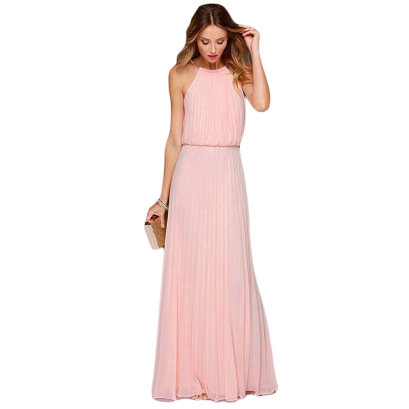 2015 Summer Style Metal String Neck Women Long Maxi Dress Pleated Pink Dresses Sleeve Off The Shoulder Party Vestidos De Festa(China (Mainland))
