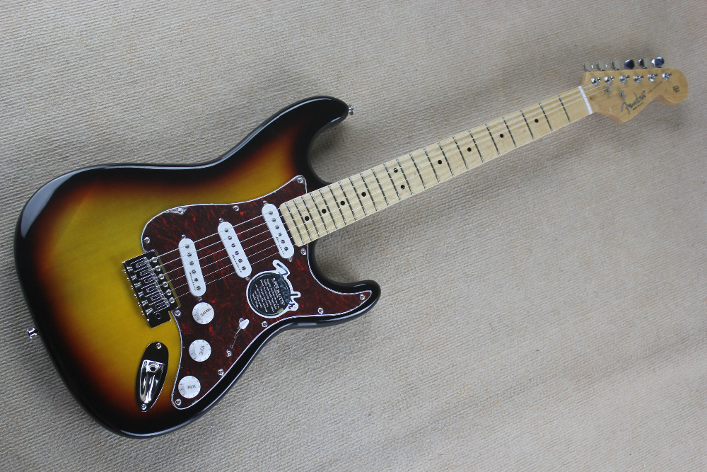Top Quality New ST sunburst sunset red pickguard MAPLE fretboard 6 string electric guitar guitarra free shipping(China (Mainland))