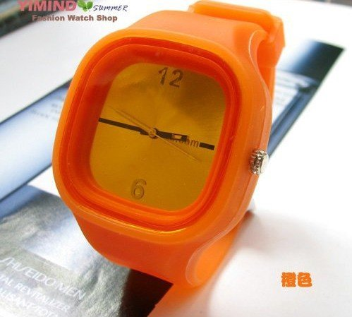 5pc/lot, free shipping HOT! orange Jelly Watch multicolor Fashion Funny Unisex Watch W7