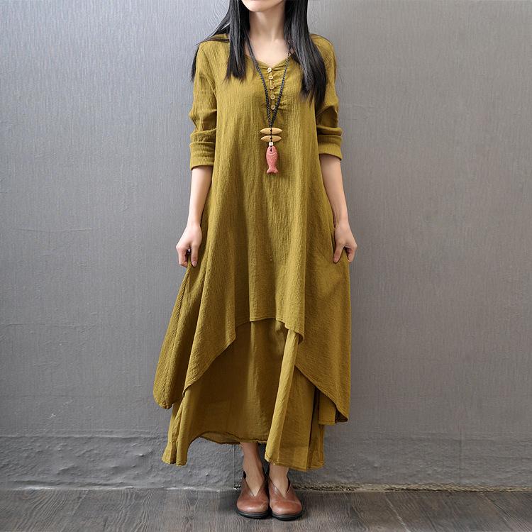 Women Cotton Linen Dress 2015 Autumn Long Sleeve Button Mori Girl Dress Art Style Plus Size Asymmetrical Long Maxi Linen Dress(China (Mainland))