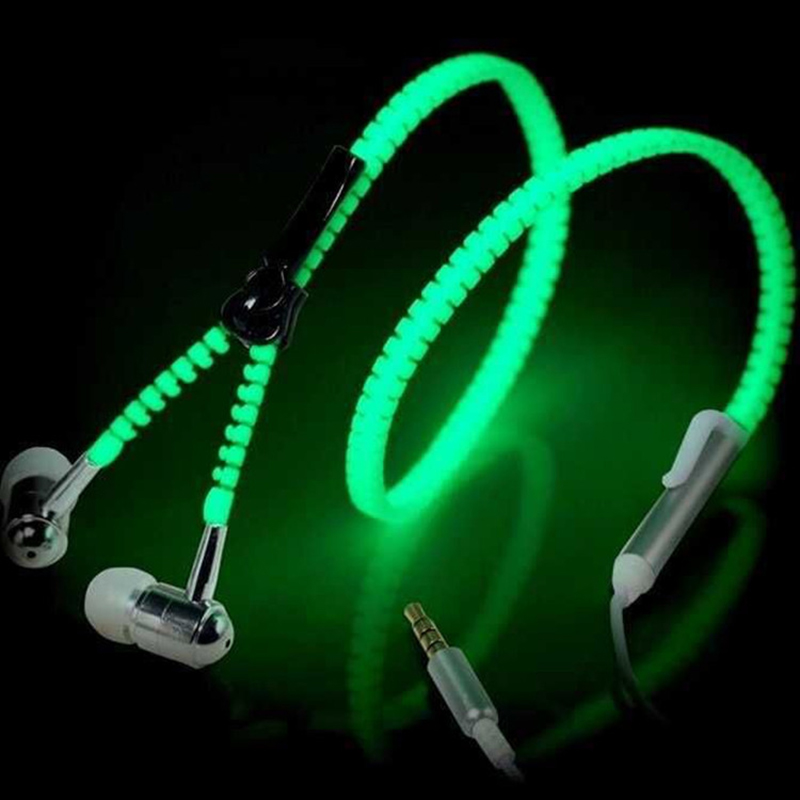 In The Dark Glow Headsets for iPhone Samsung Sony xiaomi Head phones Luminous Light Metal Zipper Earphones Green Blue White Pink(China (Mainland))
