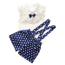 kids clothes girls summer 2016 fashion toddler girls clothing sleeveless shirt polka dot Strap shorts set suit children clothing(China (Mainland))