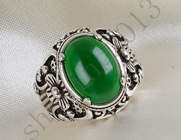 Free Shipping Sz6-9 Silver Plated Green Opal Retro Cross Lady Band Moonstone Women's Wedding Ring Bridal Jewelry(China (Mainland))