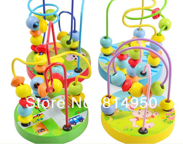 2013 Free Shipping Animal Track Rail Maze, Around Beads, Anime Animals Children's 3D Wooden Toy Puzzle