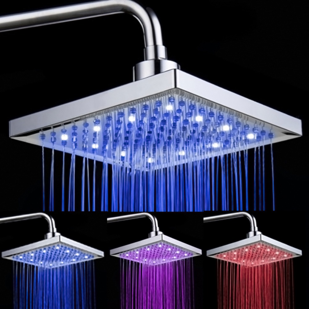 Bathroom rain showers - 8 Inch Fashion Led Temperature Sensitive Color Changing Rain Shower Head Bathroom Square Top Spray