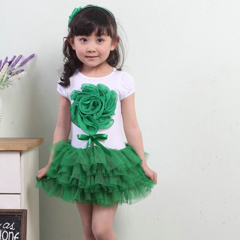 2016 Summer Sweet Kid Girls 3D Flower Party Tutu Dress One Piece Bowknot Dress 1-4 Years Rose Green(China (Mainland))