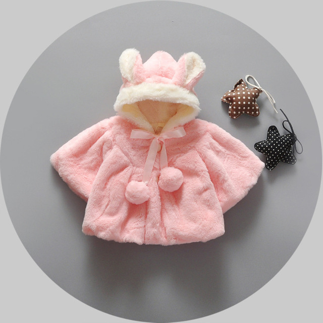 2016 девушки детские пальто зимой и осенью бархат пальто младенца прекрасный ухо с капюшоном новорожденный девушки пальто для детей шаль искусственного меха куртки