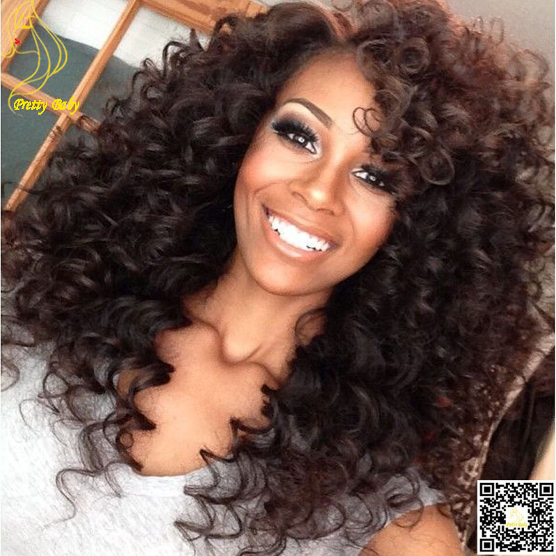 Virgin Peruvian Kinky Curly Front Lace Human Hair Wigs Unprocessed Hair Deep Curl Glueless Full Lace Wig With Baby Hair(China (Mainland))