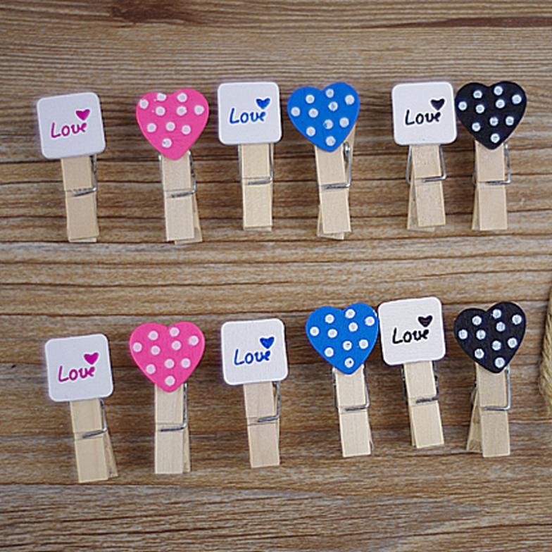 Гаджет  Lovely Black and White Pink Heart Craft Wooden Banner Clips Pegs Prefect for Party Event Wedding Decoration free shipping None Офисные и Школьные принадлежности