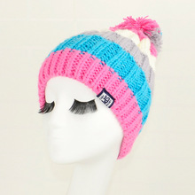 Pom Pom Hats Pink Blue font b Beanie b font Patchwork Rainbow Colorful Multi Colors Pompom