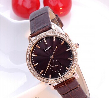 rhinestone bezel china Rose Gold CASE brand new women BROWN leather belt luxury wristwatch women's Watches(China (Mainland))