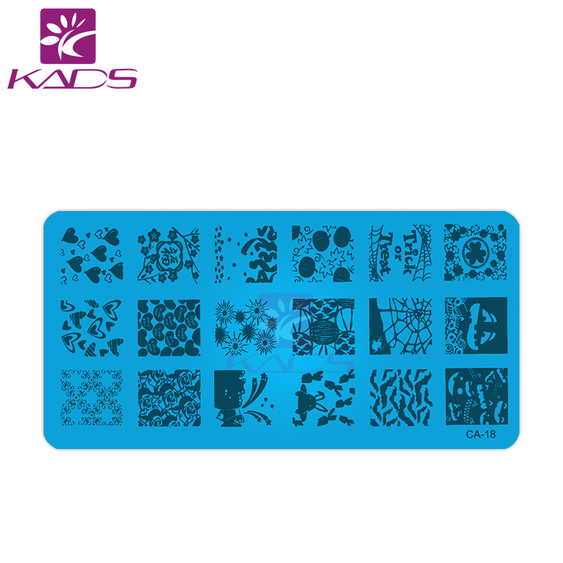 KADS CA18 fireworks & rabbit with carrot & heart nail templates for nail polish stamp nail stamping plate heart for nail design(China (Mainland))