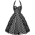 Summer Style Lady Retro Audrey Hepburn Vestidos Women Vintage 50s Dress Big Swing Polka Dot Backless