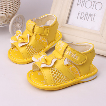 2015 new baby sandals 0-2 years old baby girl shoes bowknot kids summer cool shoes good quality birthday gift box packaging