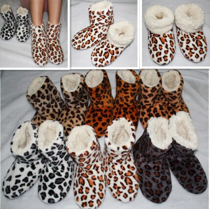 Гаджет  Free Shipping 2014 Ladies adult indoor shoes, home indoor shoes, soft bottom soft surface, leopard indoor boots, free size None Обувь