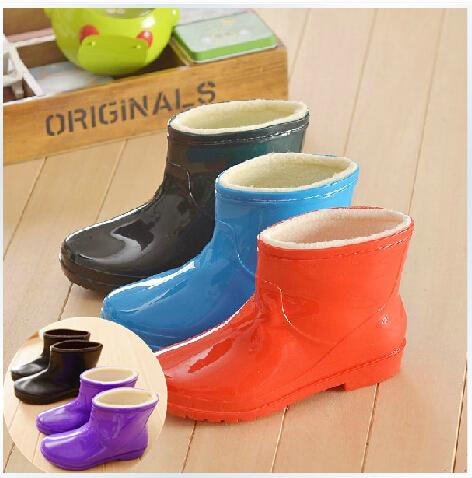 Fashion Lady Warm Winter Plus Velvet Short Rainboots Tube Cotton Non-slip Water Shoes Rubber Boots Ankle Rain Boots(China (Mainland))