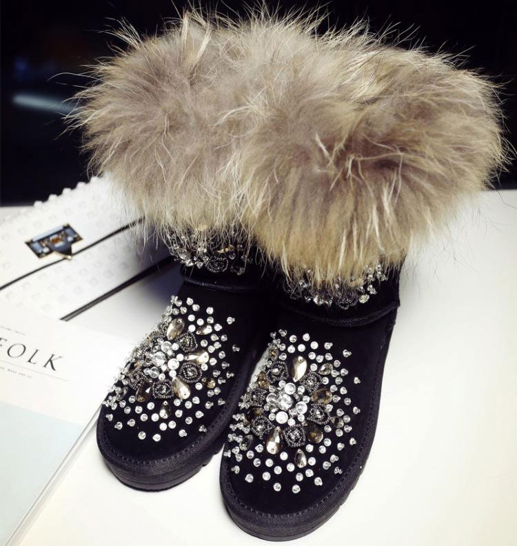 European high-end handmade diamond leather winter new personality raccoon fox fur short boots boots low tube Ma Dingxue tube(China (Mainland))