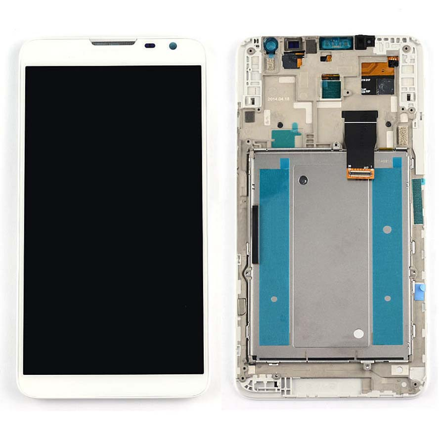 +Frame White LCD Display + Touch Screen Digitizer Assembly Replacement For Huawei Ascend Mate 2 Free Shipping