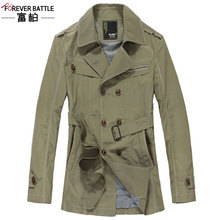 2014 Rushed Solid Zipper Fashion Broadcloth Coat Spring New Arrival Male British Style Long Design Slim Trench Outerwear Fl0027