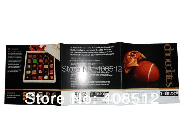 Custom design open size 375x125mm full color flyers Z fold brochure printing(China (Mainland))