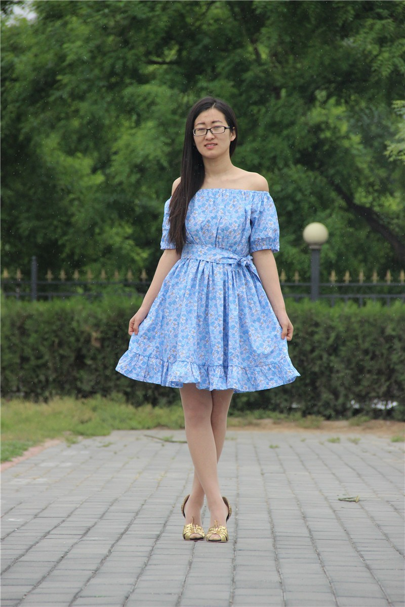 2015 NEW fashion summer floral   dress   lovely dress vintage casual dress free shipping
