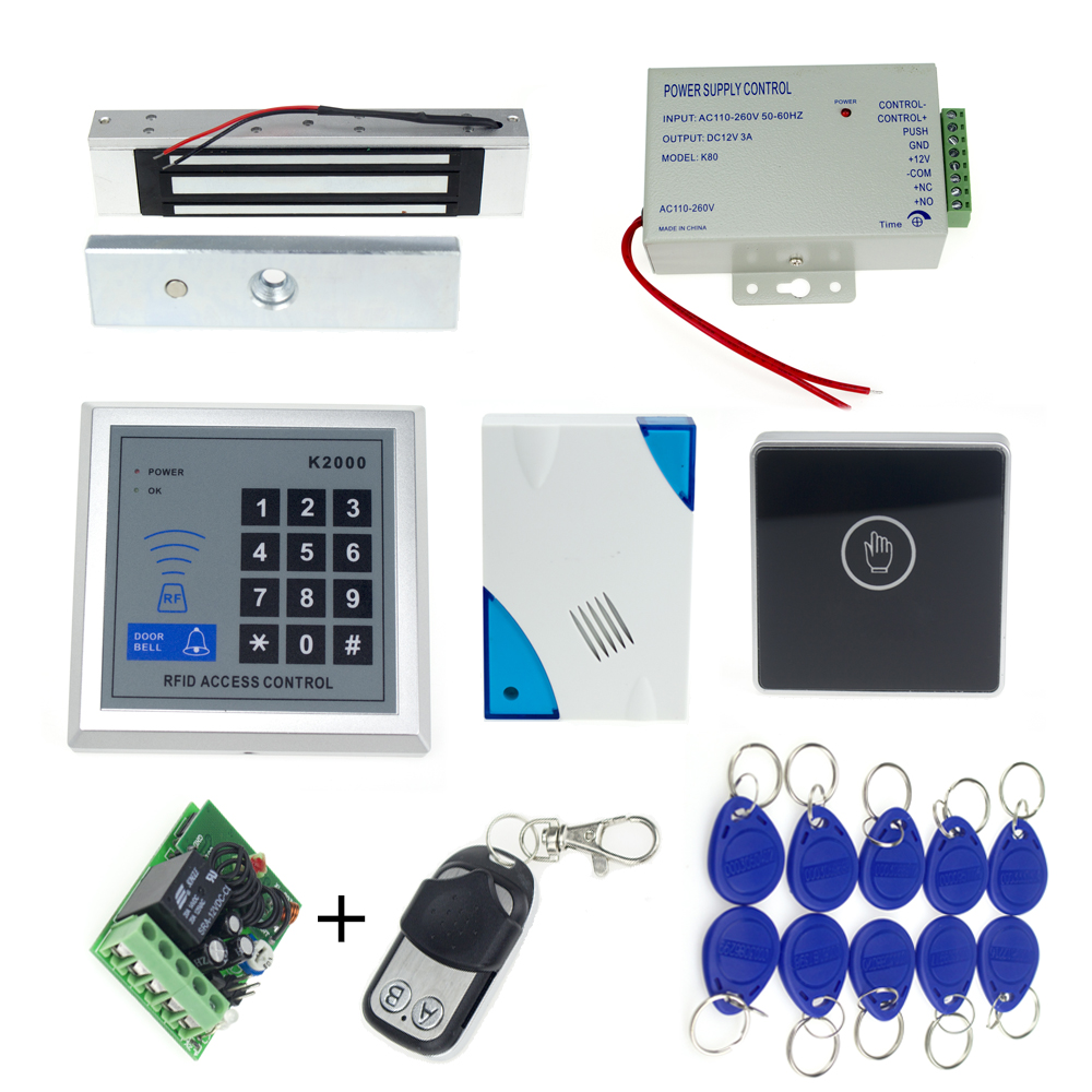 rfid door access control keypad+electronic magnetic lock+power supply+rfid keyfobs+door bell+touch exit button+remote control(China (Mainland))