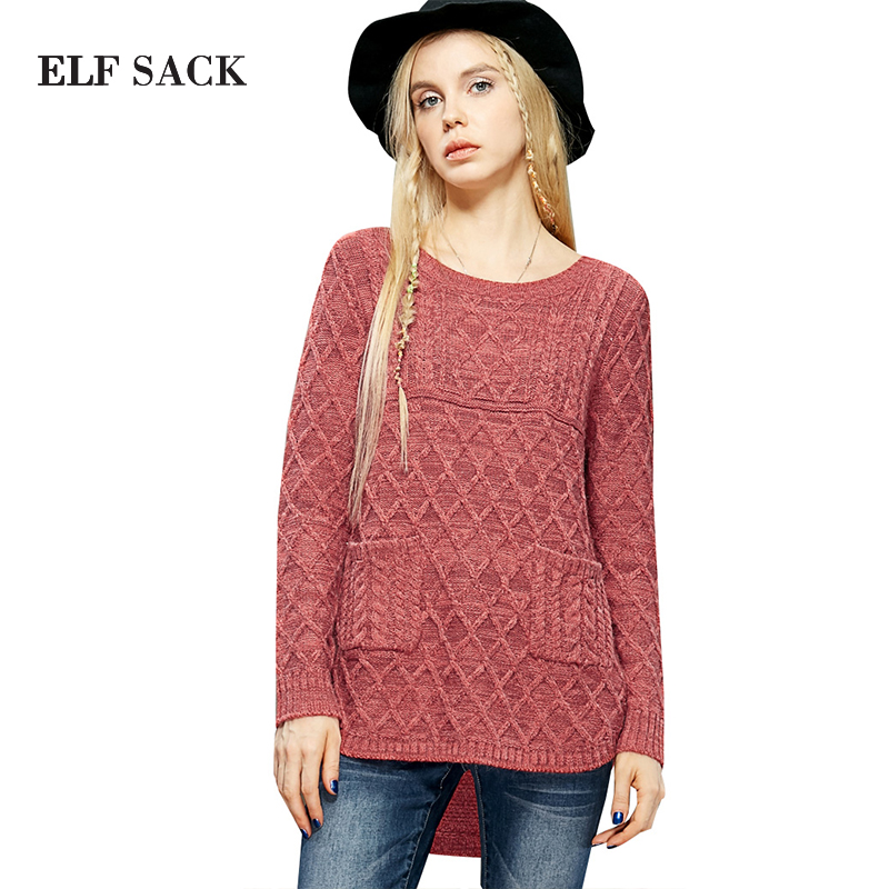 ELF SACK Women Autumn Round Collar Pullover Long Sleeve Solid Kniited Crochet Sweater With Pockets Short Front Long Back(China (Mainland))