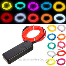 Free Shipping 3M Flexible Neon Light Glow EL Wire Rope Car Party Different Colors to Choose(China (Mainland))