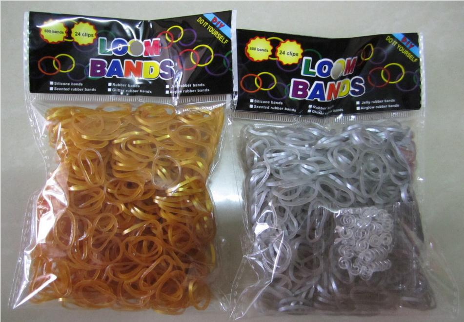 Hot Popular Metallic Gold and Silver Good Elastic Crazy Loom Bands Bracelet for Kids Loom Kit Free Shipping(China (Mainland))