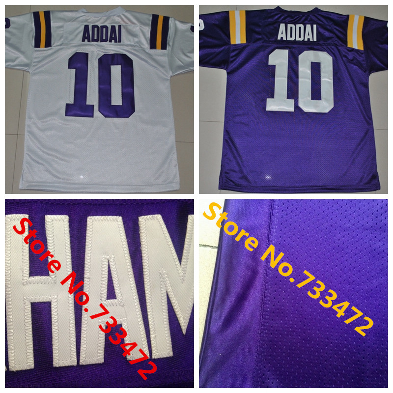 2016 College Football Jersey LSU Tigers 10 Joseph Addai Purple Football Shirt Authentic Stitched Cheap Jersey Fast Delivery(China (Mainland))