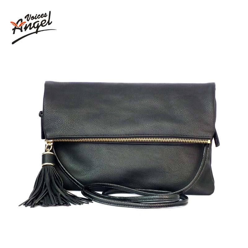 Luxury Handbags Women Bags Designer 2016 Tassel Women Messenger Bags Famous Brand Small Fold Over Crossbody Bag For Women Black(China (Mainland))