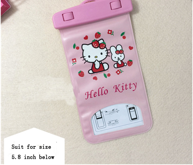 Hello Kitty Waterproof Bag Phone Pouch Cases For Iphone Samsung galaxy s5 For Samsung galaxy note 3 2 s4(China (Mainland))