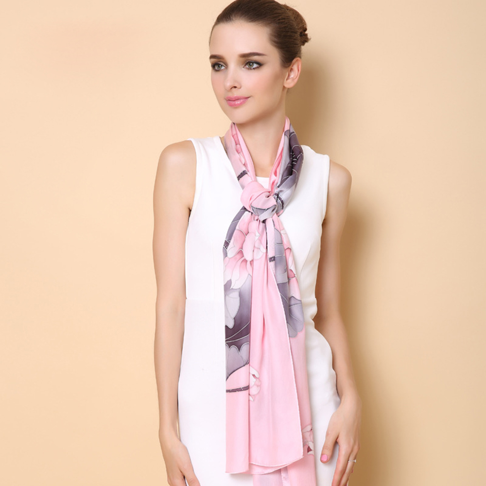 High-Grade 2015 Women Silk Scarf Floral Printed 175cm*53cm Large 2015 100% Silk Scarf Shawl Winter Scarves Pashmina FW601Одежда и ак�е��уары<br><br><br>Aliexpress
