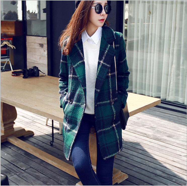 2015 New Coat Autumn Midi Pattern Womens Winter Jacket Plaid Woolen Coat Slim Cloak For Women Jacket For Women Fashion PoncahОдежда и ак�е��уары<br><br><br>Aliexpress