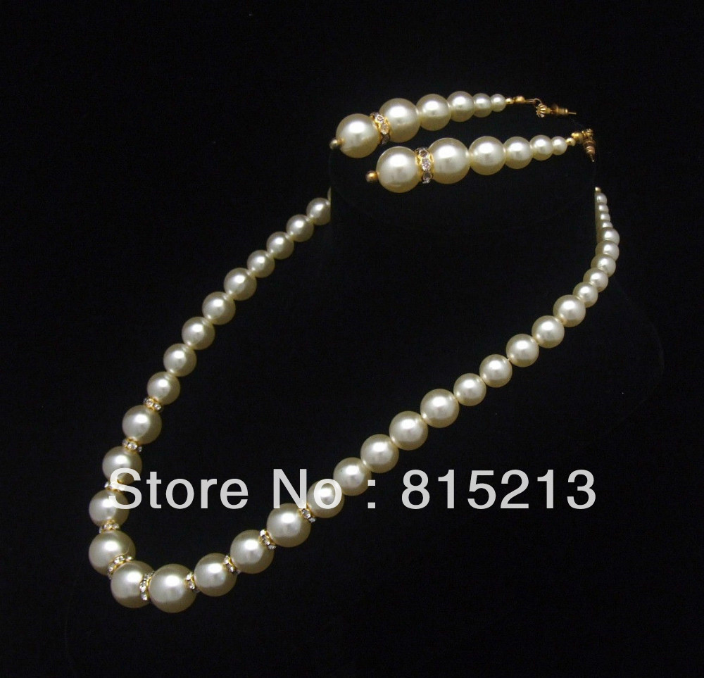 ddh00753 Rhinestone Earrings & Necklace Set Graduating Faux Pearls Pierced Goldtone Beads(China (Mainland))