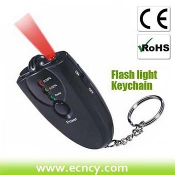 Breath Alcohol Tester with Flashlight alcohol breathalyzer keychain free shipping