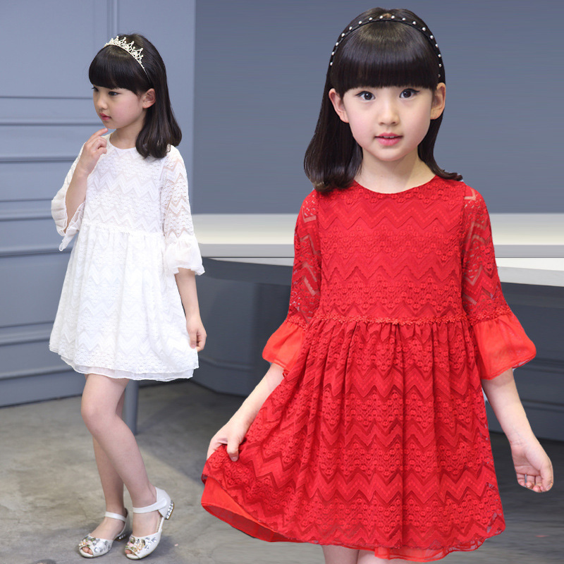 3-14y,2016 new girls summer cute dress children lace dress kids white and red dress baby dress(China (Mainland))
