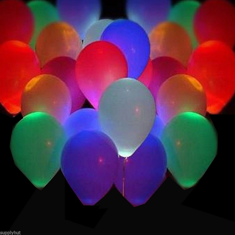 100pcs LED Helium Air Mixed Colors Balloons RGB light / White Balloons White Light Wedding Light Up Decoration Party Retail Pack(China (Mainland))