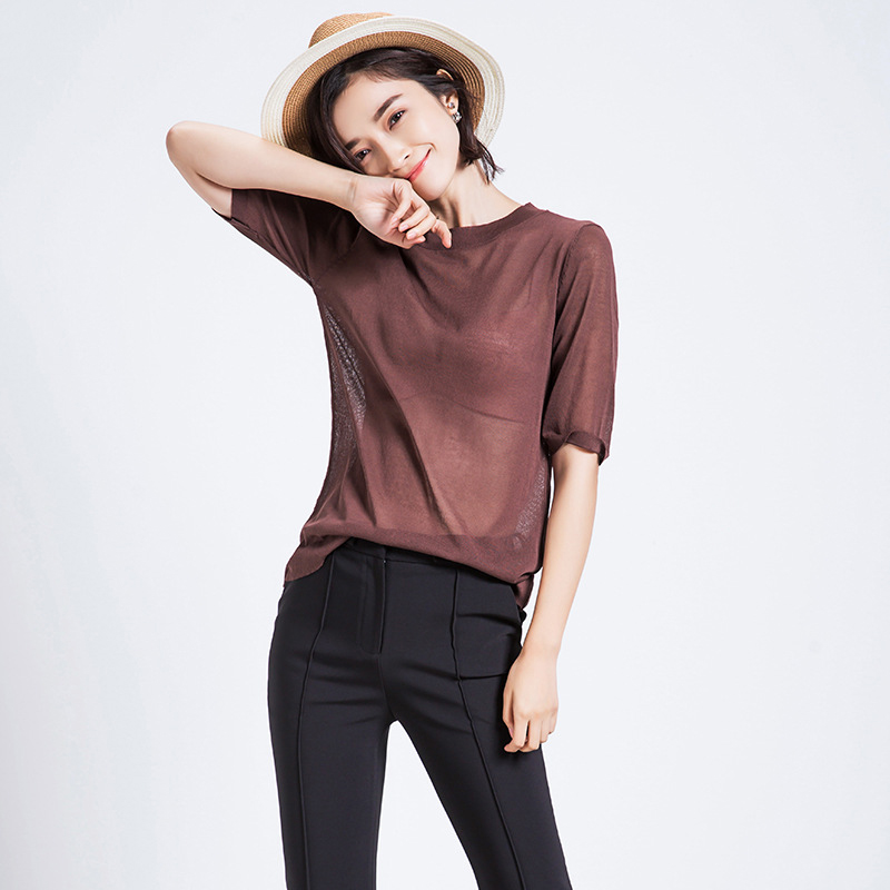 New 2016 Summer Women Knitted Sweater T-Shirt Korean Fashion Solid O Neck Short-sleeved Linen Perspective Knitted T Shirt Tops(China (Mainland))