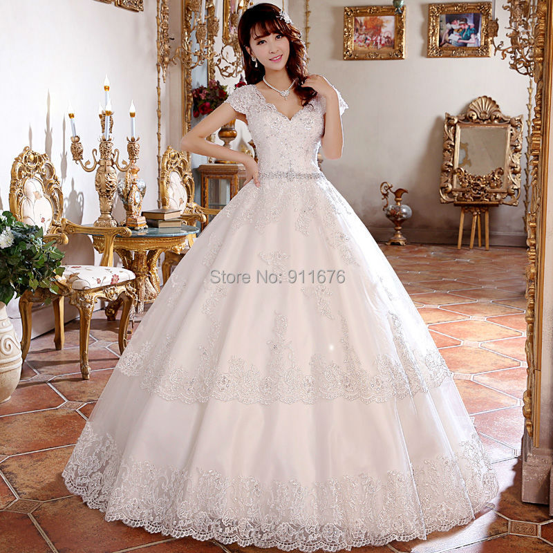 2015 New sexy white/ivory Tulle Lace Appliques Beads Ball Gowns Cap Sleeve Wedding Dresses Bride Gowns US size 2-22W Custom(China (Mainland))