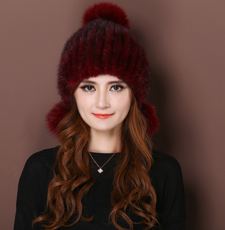 DL-10333 real knitted mink fur hats for women winter laciness Fashion beanie hat cap mink fur The high quality beanie fur hat(China (Mainland))