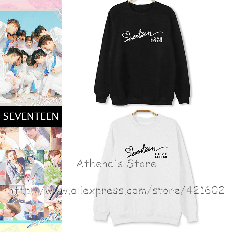 New Kpop SEVENTEEN MV Love Letter Sign Cotton Hoodie korean Idols seventeen k pop clothing VERNON Pullover JEONGHAN Sweatshirts(China (Mainland))