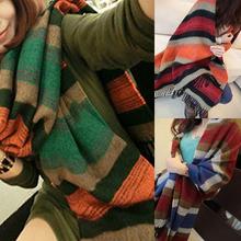 Korean Style Horizontal Cross Stripe Wool Color Pashmina Tassels Cappa Soft Shawl Denim Tippet Thicken Warm Scarr(China (Mainland))