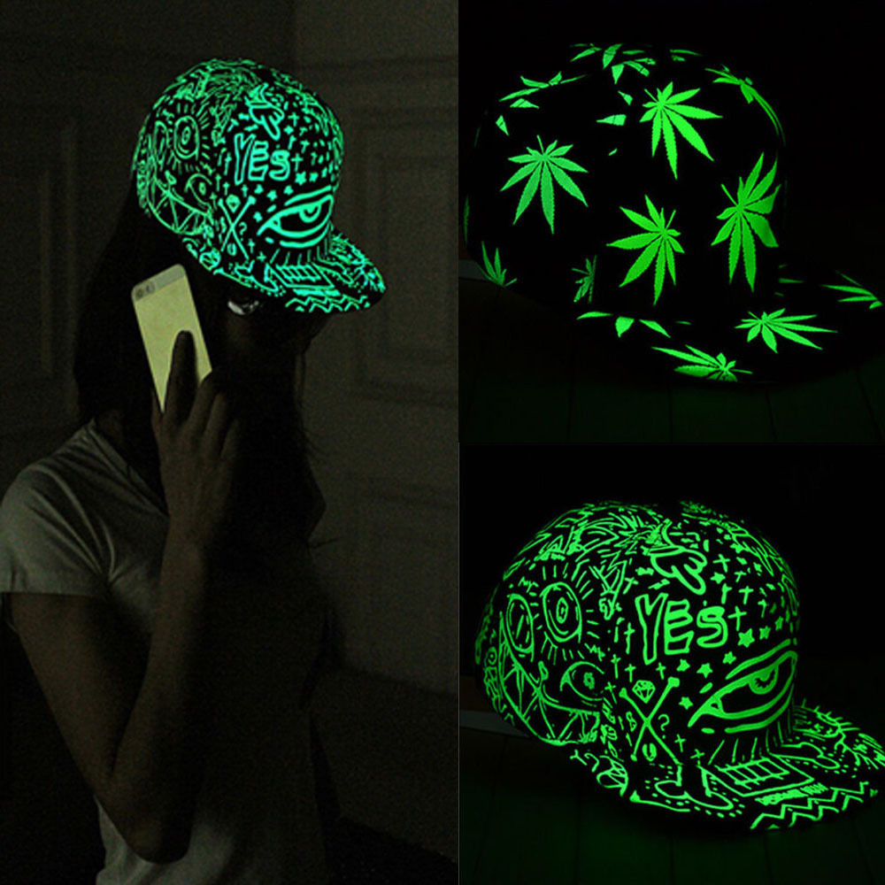 Free Shipping Funny Light In The Dark Night Luminous Glow Snapback Baseball Hip-Hop Cap Hat  POSTAGE FREE(China (Mainland))